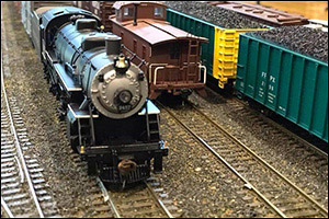 steam locomotive on the AMRS HO scale layout